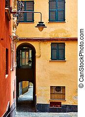 Old street in Genoa city