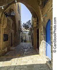 Old  street in historic Jaffa, Israel