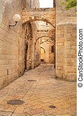Old street in Jerusalem, Israel. - Vertical oriented image...