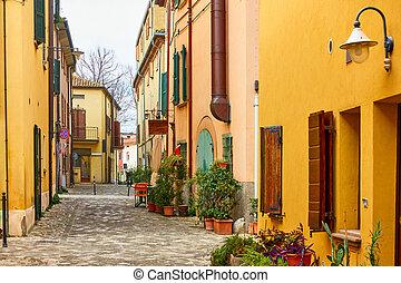 Old street in San Giovanni in Marignano, Emilia-Romagna, ...