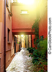 Old street in San Giovanni in Marignano town on sunny day, ...