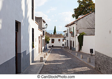 Old street in the Arab quarter, Granada, Spain