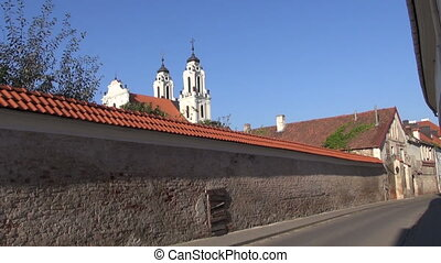 old street in Vilnius and Church