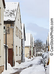 Old Street In Winter Village, Germany - Old houses in a...