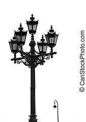 old street lamp - old black street lamp isolated on white