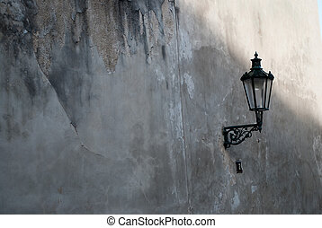 old street lamp on the wall