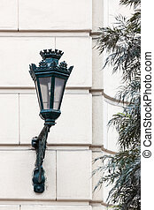 old street lamp on wall