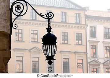 Old street lamp - Antique metal street lamp on Market...