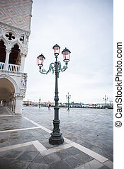 Old Street Lantern in Venice on San Marco Square. Early Rainy Morning.