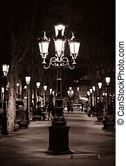 Old street light in a city of Barcelona