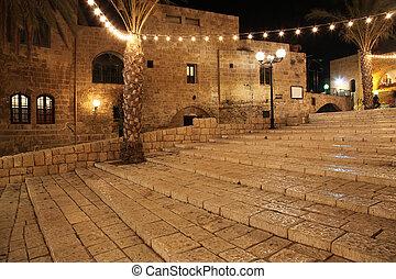 Old street of Jaffa, Tel Aviv in the night, Israel