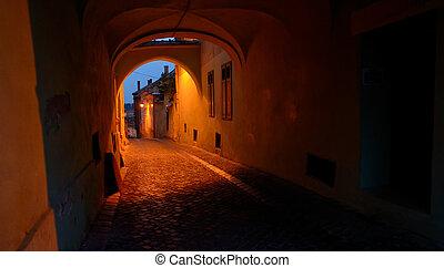 Old street of residential buildings in Sibiu city