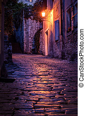 Old street - Old paved street at night -Pula ,Croatia