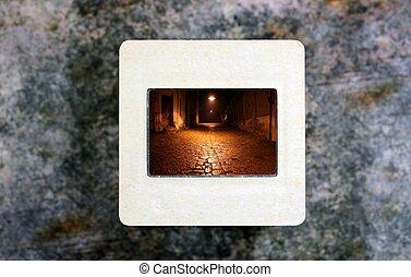 Old street on slide film