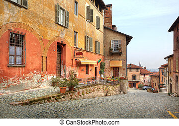 Old street. Saluzzo, Italy.