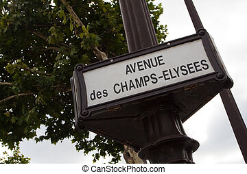 Old street sign on Champs-Elysees