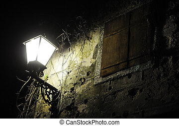 Old street with lamp