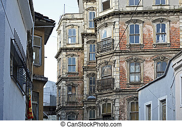 Old streets and buildings of the old Istanbul, Turkey