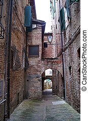 Old streets in the center of Siena