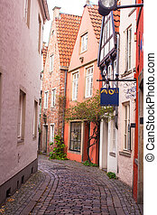 Old streets in the city of Bremen, Germany