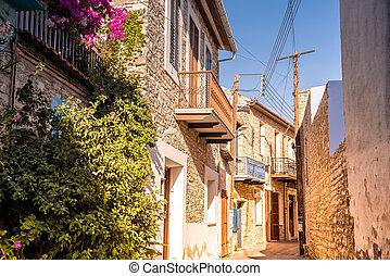 Old streets of Lefkara village. Larnaca District. Cyprus