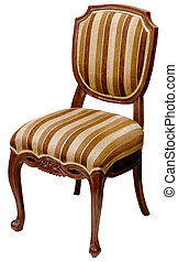 Old striped wooden chair isolated on white