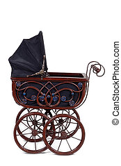 Old stroller - Old fashioned stroller. Taken on white...