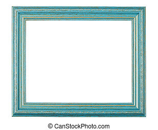 Old style antique wooden craft photo frame isolated with clipping path