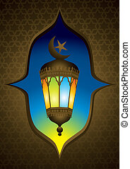 Old style arabic lamp with moon crescent - illustration