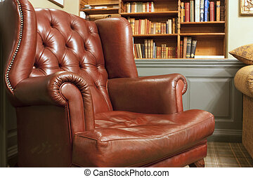 Old style armchair in front of bookshelves - Old style...