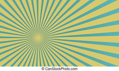 Old style cartoon cue title background with blue, yellow, rotated rays