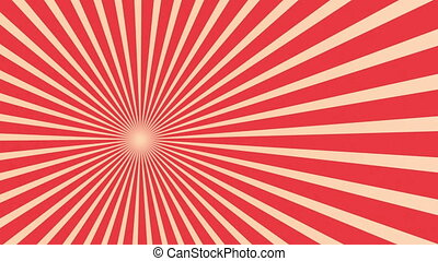Old style movie cue title background with red rotated rays