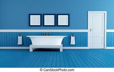old style blue bathroom - old style bathtub in a retro ...