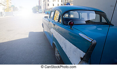 old style blue car