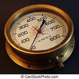 Pressure Gauge. - Old style brass Pressure Gauge.
