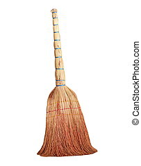 Old style broom isolated on white