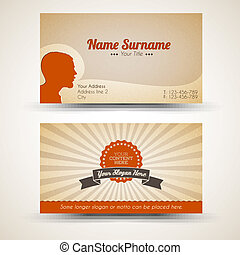 old-style, business, vendange, vecteur, retro, carte