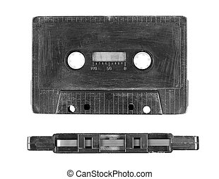 Old style dirty audio casette on the white