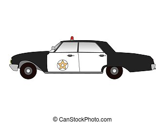 Old style flat police sheriff cop car vector auto illustration