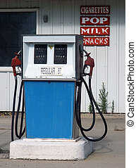 old-style gas pump at a run-down station