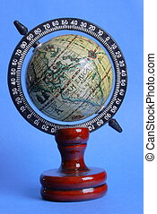 Old - style globe, Africa faced, blue background