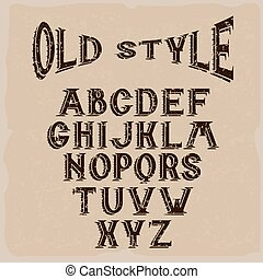 old style grunge alphabet for labels