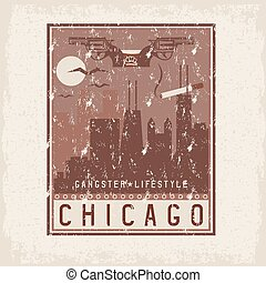old style grunge vintage retro poster with Chicago Illinois USA skyline