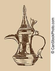 Old Style Hand Drawn Arabic Coffee Pot - Vector Illustration