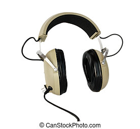 Old style headphones isolated