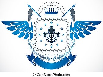 Old style heraldry, heraldic emblem, vector illustration composed using lily flower, monarch crown and stars