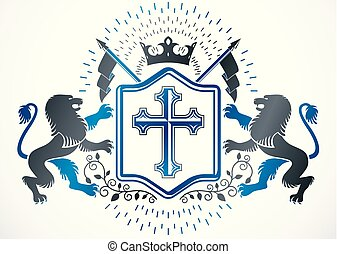 Old style heraldry, heraldic emblem, vector illustration created with wild lions, religious cross and royal crown.