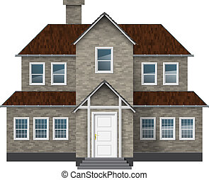 Old style house - Old style gray brick cottage isolated on...