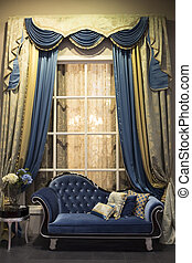 interior with sofa and curtains - Old style interior with ...