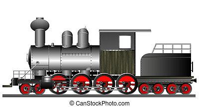 Old style locomotive - Old style steam engine locomotive on...